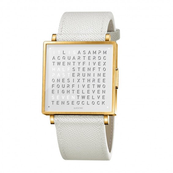 Biegert & Funk Qlocktwo Watch Gold White